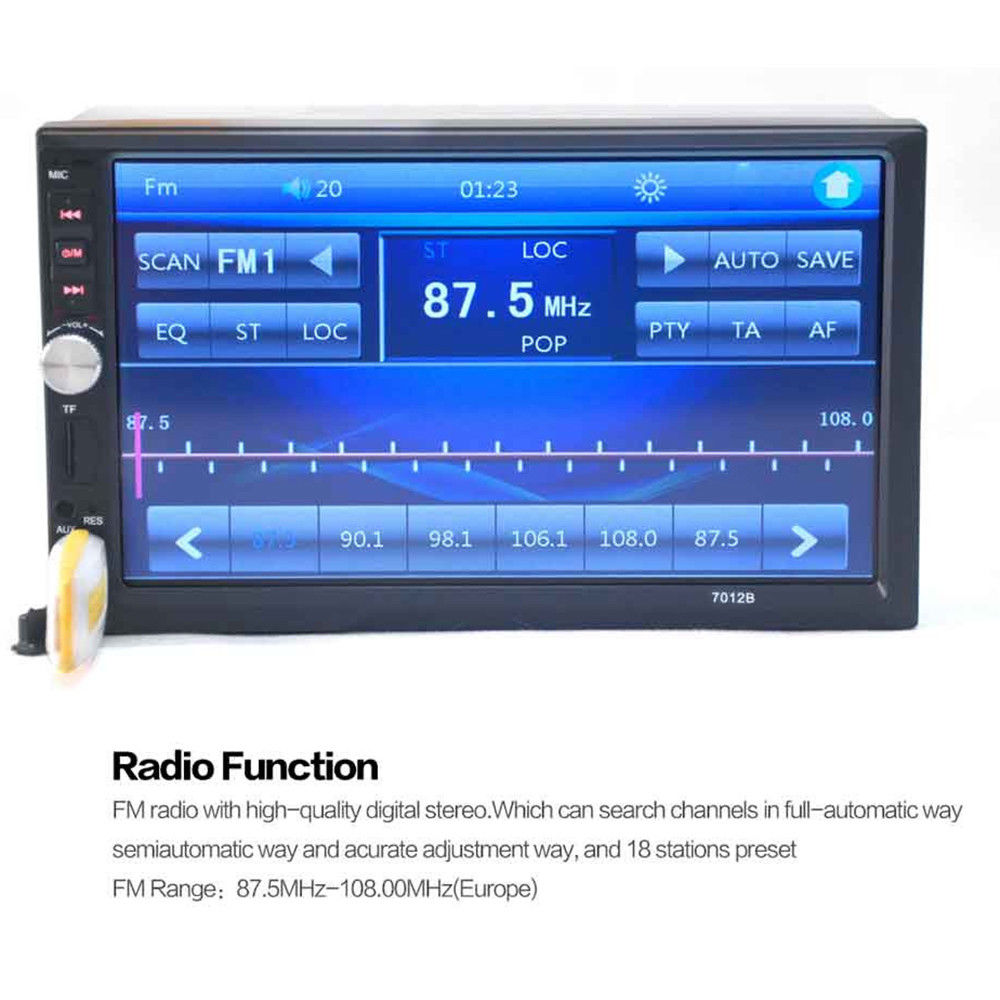 Awesome 2 Din 7″ Touch Screen FM Bluetooth Radio Audio