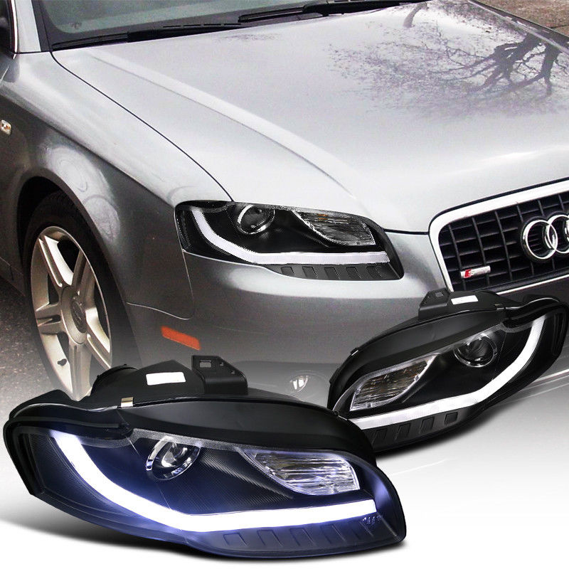 Great Audi A Projector Headlights WBMW Style LED DRL - 2006 audi a4 headlights