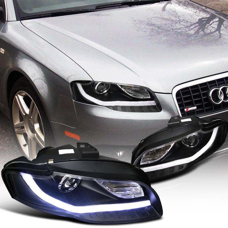 Great Audi A Projector Headlights WBMW Style LED DRL - 2018 audi a4 headlights