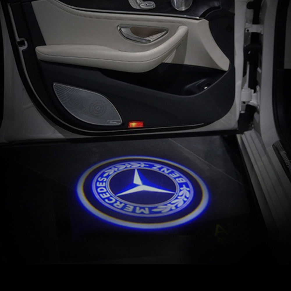 Mercedes benz logo door lights vector logos for Mercedes benz door lights