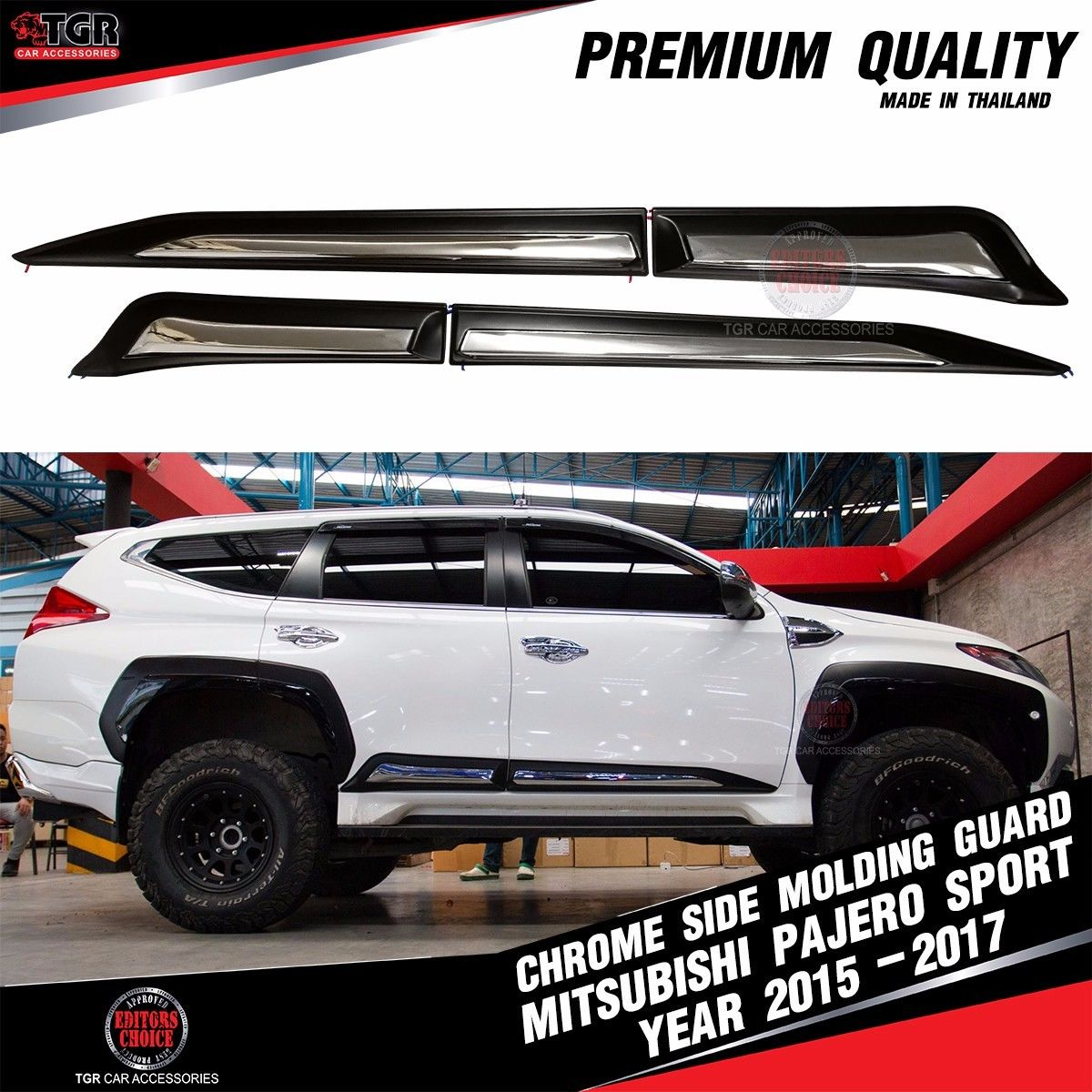 Great Chrome Side Molding Guard Cover Trim Mitsubishi Montero Pajero ...