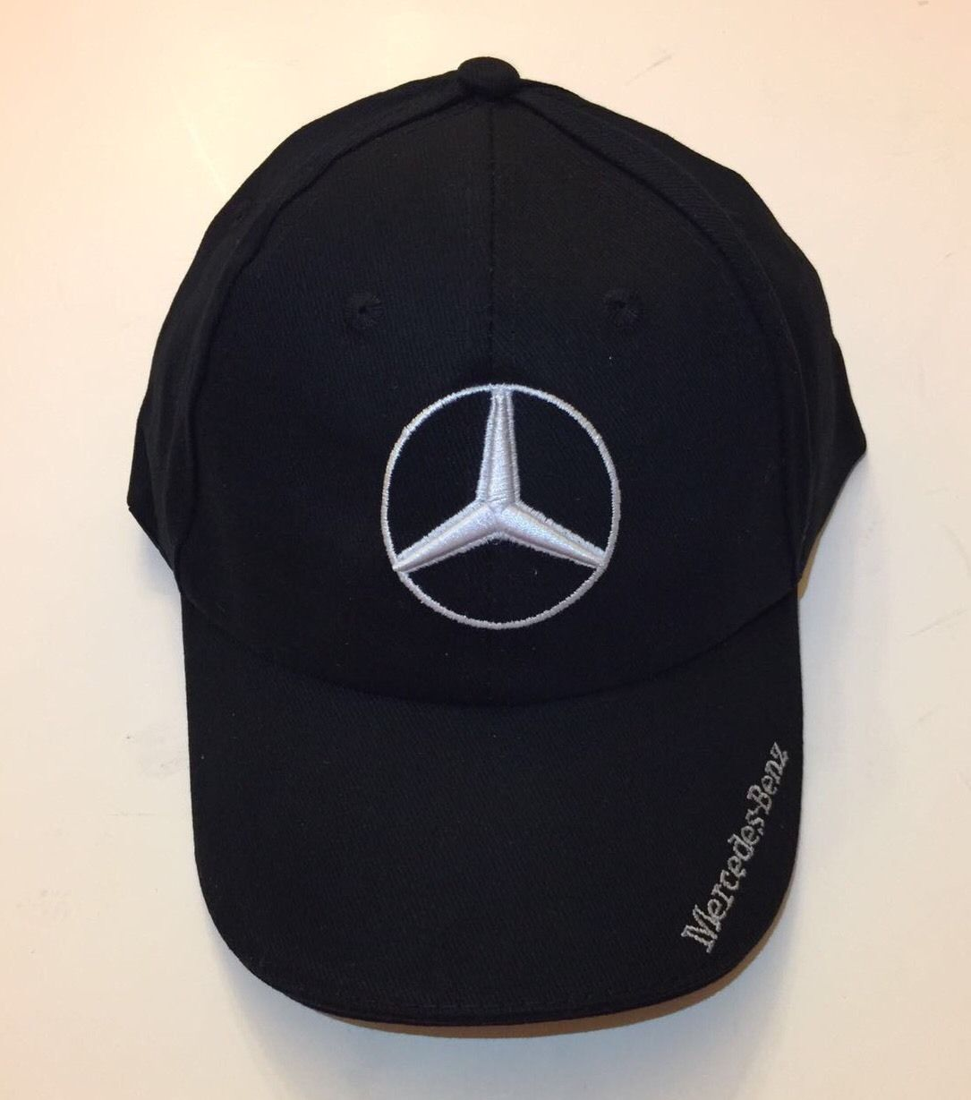 Awesome NIB Mercedes Benz With Logo Black Hat Cap Adjustable 2017 2018 099ba86c517