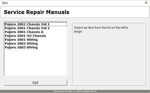 2001 mitsubishi montero sport repair manual