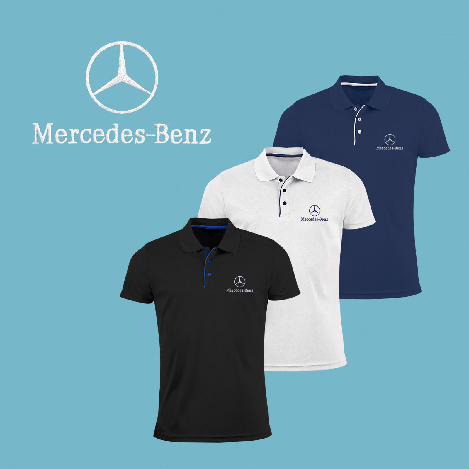 awesome mens mercedes benz slim fit polo shirt embroidered auto logo t shirt tee amg 2017 2018. Black Bedroom Furniture Sets. Home Design Ideas