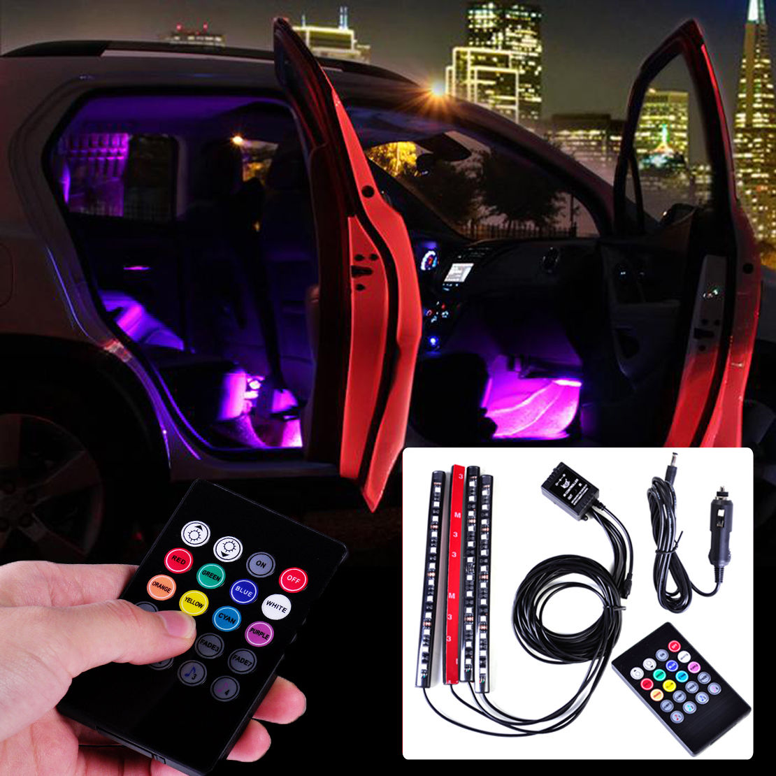 Universal 12 LED Car Interior Remote Light Music Control