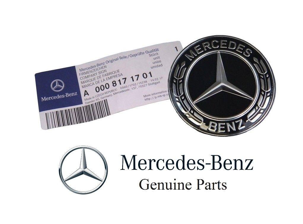 NEW GENUINE MERCEDES-BENZ MB BLACK WREATH FLAT BONNET BADGE EMBLEM  A0008171701