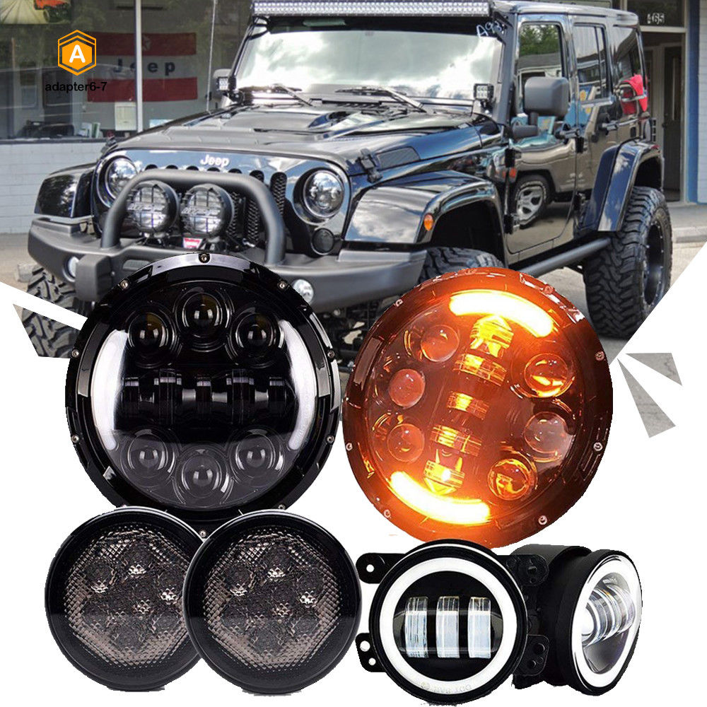 Amazing 2007 2018 Jeep Wrangler Jk Dot 7 Led Headlight Fog Light Lights Turn Signal Combo Kit 2017