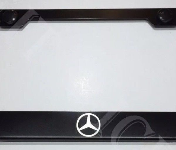 Awesome Mercedes Benz Logo Stainless Steel Black License Plate Frame ...