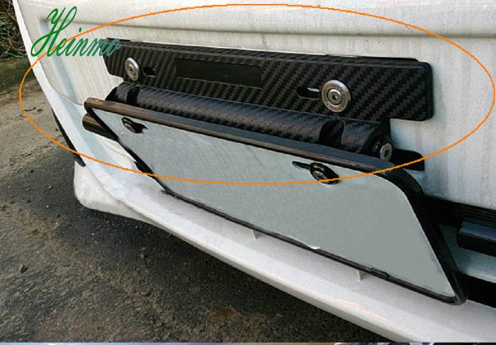 180° Universal Carbon Fiber Style Number Car Racing License Plate Frame Holder