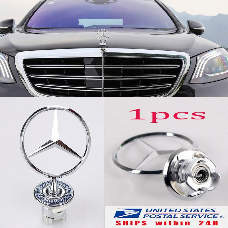 Silver Badge 3D For Mercedes-Benz Star Hood Logo Emblem W210 W202 W203 C200 W211
