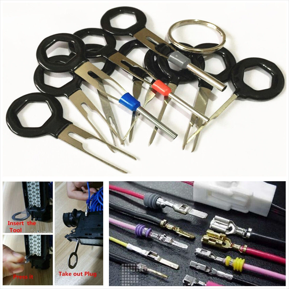 great car plug circuit board wire harness terminal extractor pick connector  tool 11pcs 2017/2018