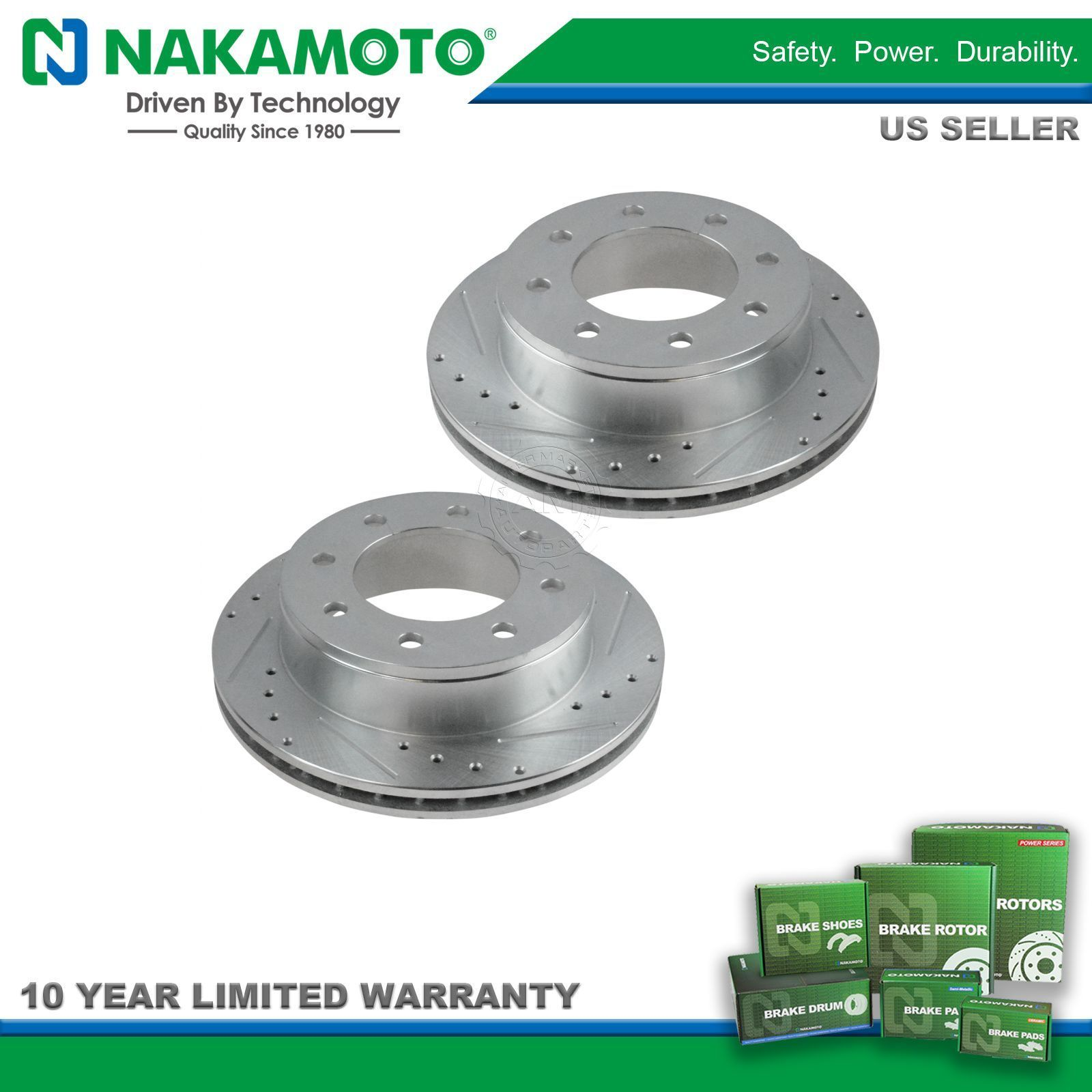 Nakamoto Performance Brake Rotor Drilled /& Slotted Zinc Coated Front Pair Kit