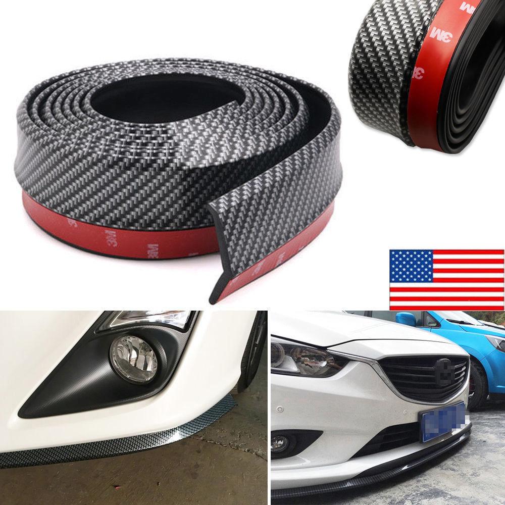 New 2.5M Universal Carbon Fiber Front Bumper Lip Splitter Chin Spoiler Body Trim