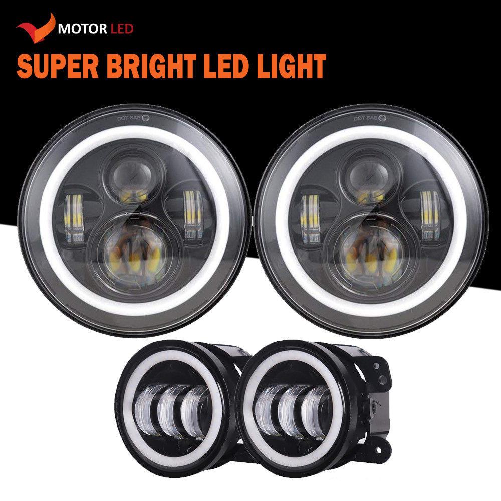 Amazing Angel Eye 7 Inch Led Headlight Fog Light Kit For 2007 Jeep Wrangler Lights 2018 Jk 2017