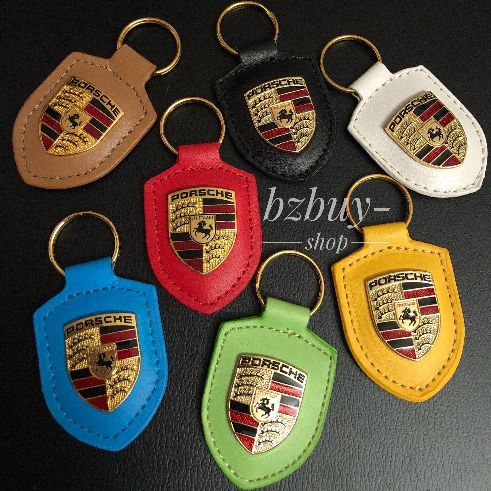 Porsche Genuine Leather Key Chain Crest new all Colors WAP05009