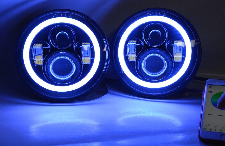 Awesome 7 Led Rgb Halo Headlights Fog Drl Turn Light For