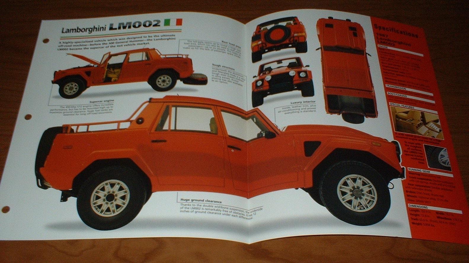 Amazing 1987 Lamborghini Lm002 Original Imp Brochure Specs Info 87
