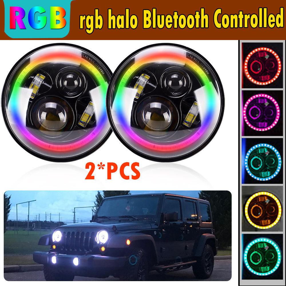 Used 7 Quot Led Rgb Halo Headlights Fog Drl Turn Light For